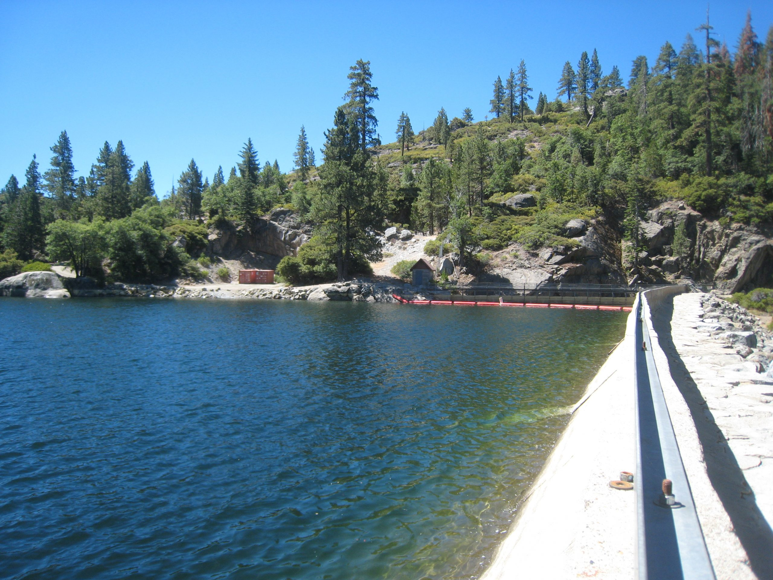 A forebay along the Stanislaus river, another beautful day of work for Sequoia biologists in the Sierra Nevada mountains.