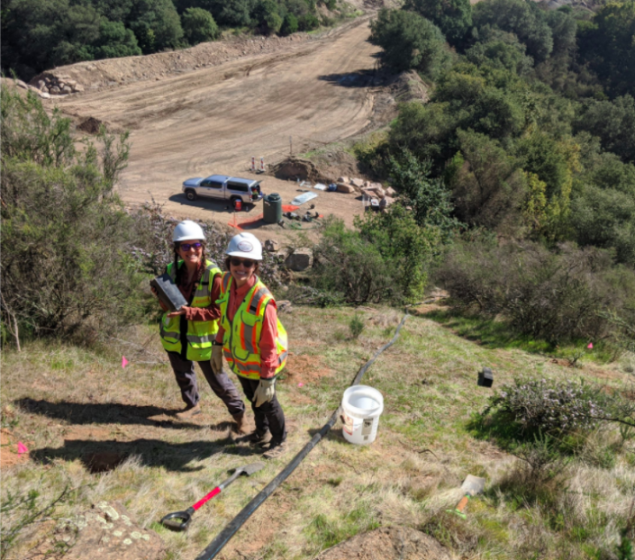 Sequoia's dream team performing restoration monitoring on a mining reclamation project in Napa.